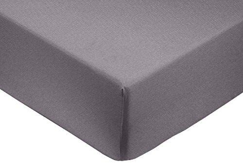 AmazonBasics - Lenzuolo con angoli matrimoniale, in rasatello di cotone 400 fili, Grigio scuro 160 x 200 x 30 cm