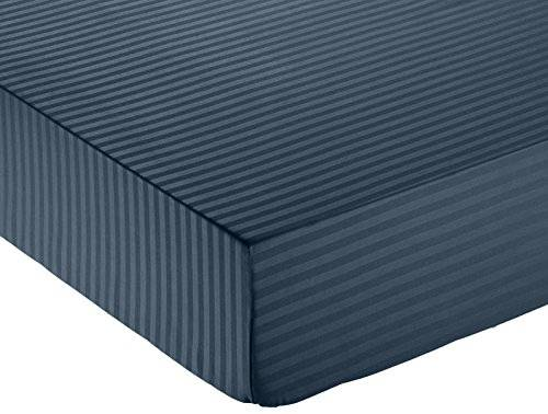 AmazonBasics - Lenzuolo con angoli deluxe in microfibra, a righe, Matrimoniale, 160 x 200 cm - Blu Navy