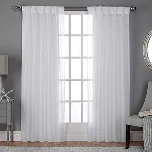 Home Exclusive Exclusive Home Belga Textured Linen Look Jacquard Sheer Finestra Tenda a Pannello Coppia con Parte Superiore a Pieghe, in Poliestere, Colore: Bianco, 96x 50x 0.2cm