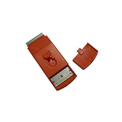 hilados filati tiragraffi plastica tascabile con lama da 4cm, rosso, unico