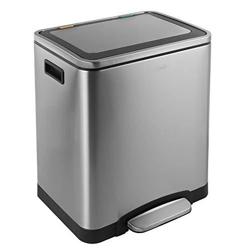 kitchen move bat-90301005/portola - doppio riciclaggio in acciaio inossidabile 30 l con 2 scomparti (2 x 15 l) per rifiuti, cucina, giardino, raccolta differenziata, metallo, 40 x 33 x 52 cm