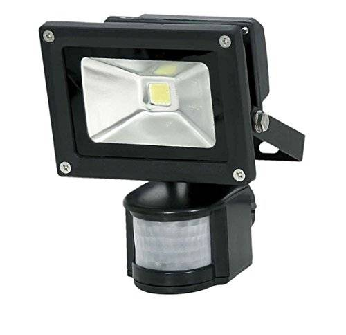 Solight Faro a LED per esterno, 10 W, 700 lm, AC 230 V, con sensore PIR, colore: nero