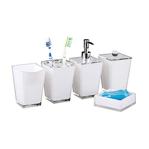 relaxdays 10022585_49 accessori bagno bbicchiere igiene dentale portaspazzolini dispenser sapone portasaponetta scatola bianco