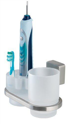 tiger 38533_09 - kit igiene orale impuls, con bicchiere in acciaio inox e zamac, variante in acciaio inox spazzolato opaco/vetro, colore: bianco smerigliato
