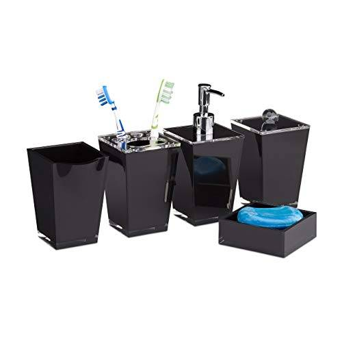 relaxdays 10022585_46 accessori bagno bbicchiere igiene dentale portaspazzolini dispenser sapone portasaponetta scatola nero