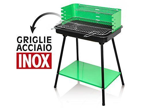 home 8418200 barbecue a carbone 58x42h80.4 con piano accessori per il tempo libero, metallo, nero/verde