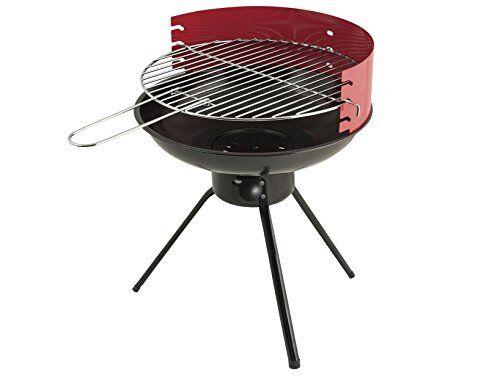 home 8418000 barbecue a carbone tondo cm40h47.5 accessori per il tempo libero, metallo, nero/rosso