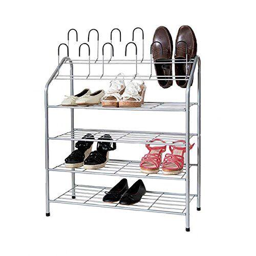Compactor - Rastrelliera Harry per 18 paia di scarpe, a 4 ripiani, in gomma e metallo laccato con resine epossidiche, colore grigio, 18 pairs