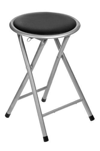 premier housewares 2402800 seggiolino, sedile nero, struttura pieghevole, argento