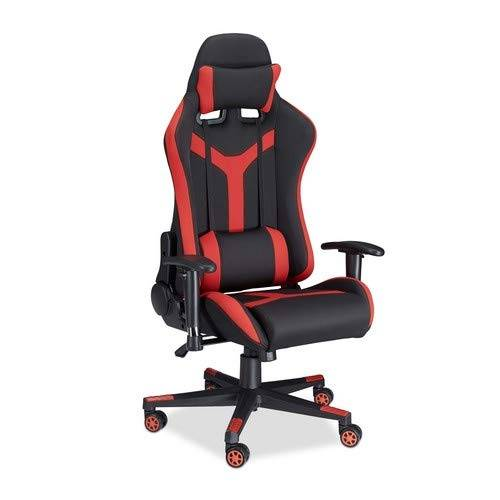 Relaxdays 10022877_47 Sedia da Gaming XR10 Poltrona da Gamer per Scrivania Computer Poltroncina Professionale fino a 120 kg Nero Rosso
