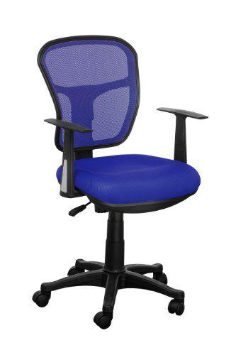 Premier Housewares Sedia da Ufficio con Braccioli Maglia, Blu