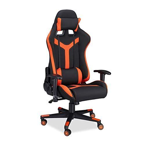 Relaxdays 10022877_57 Sedia da Gaming XR10 Poltrona da Gamer per Scrivania Computer Poltroncina Professionale fino a 120 kg Nero Arancio