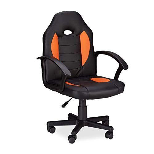 Relaxdays 10022875_57 Sedia da Gaming XR7 Girevole 360 da Gamer Altezza Regolabile per Ufficio fino a 120 kg Stile Racing Nero Arancio