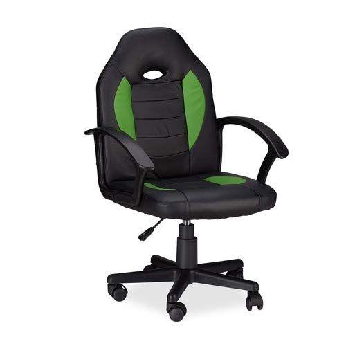 Relaxdays 10022875_53 Sedia da Gaming XR7 Girevole 360 da Gamer Altezza Regolabile per Ufficio fino a 120 kg Stile Racing Nero Verde