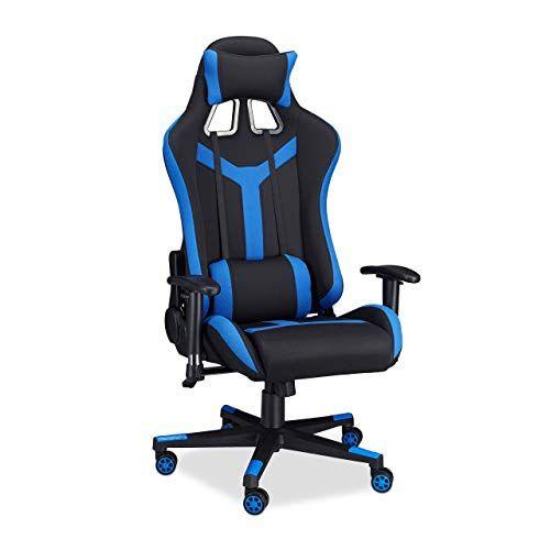 Relaxdays 10022877_45 Sedia da Gaming XR10 Poltrona da Gamer per Scrivania Computer Poltroncina Professionale fino a 120 kg Nero Blu