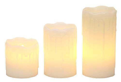 Star Stella LED luce delle candele con cera reale, tremolanti, contenitore di batteria bianco caldo LED azionato set, 3 pezzi 05.07.10 x 5 cm, bianco 067-88