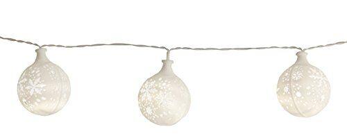 star catena led light starfiocco di neve, cavo 15-pezzo palline trasparenti con modelli, 15 caldo led bianco, lunghezza 2,1 m, a batteria, timer box set 726-73