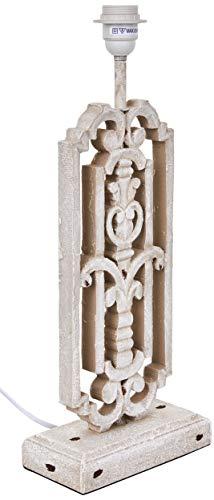 better & best 0050262-lampada da tavolo in legno con corona e disegno arrotondato, colore: bianco
