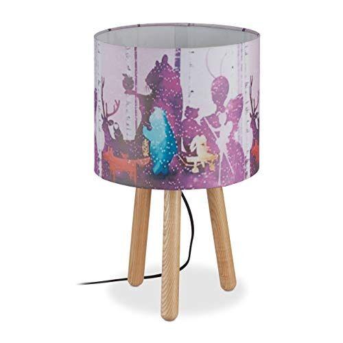 relaxdays lampada da tavolo per bambini,paralume cilindrico con disegni animali,3 gambe in legno,hxd 41x25 cm,colorato