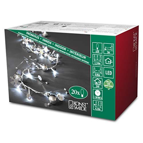 konstsmide 3189-903 / catena di luci decorative led perle in argento e cristalli di neve / 20 diodi bianco freddi / 24v trasformatore da interno/cavo trasparente