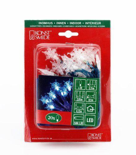 konstsmide 1261-403 / catena di luci decorative led fiocchi di neve / 20 diodi blu/a batteria sino a 210h / blu/cavo trasparente