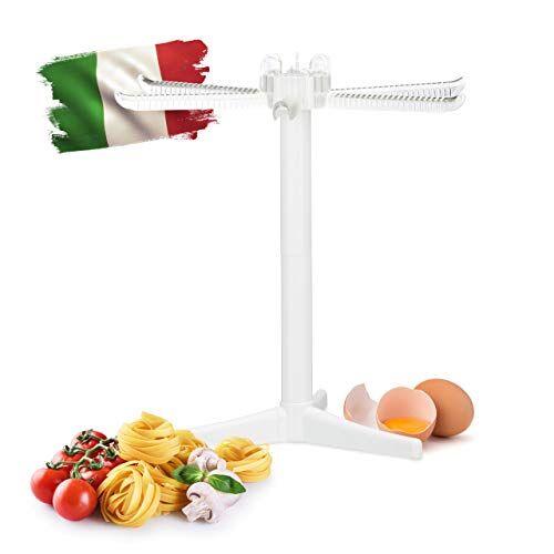 Relaxdays - Stendino a 6Braccia per Asciugatura Pasta, Pieghevole, Ideale per Spaghetti e Fettuccine, Dimensione: 31x 31x 31cm, Colore: Bianco