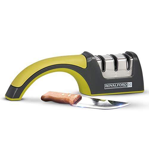royalford - affilacoltelli a 3 stadi - affila efficacemente coltelli smussati - manico con impugnatura, base antiscivolo, fessura in diamante grezzo e medio, e slot ruota in ceramica