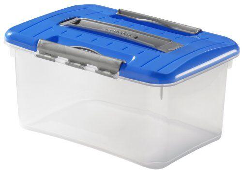 curver 0003137600trasportino optima boxm, 5l, trasparente/blu/argento