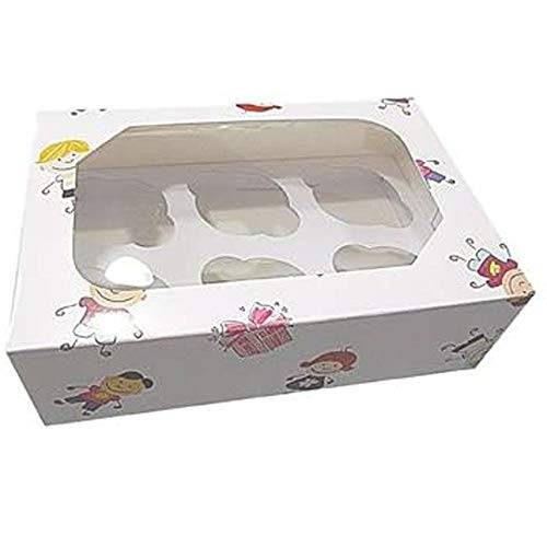 club green cupcake box per bambini, bianco, 240x 165x 75mm, confezione da 2