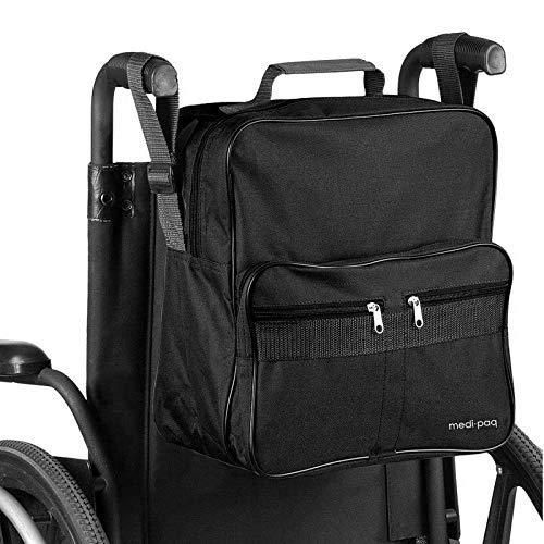 medipaq borsa deluxe per sedia a rotelle  attacca alle maniglie per avere un contenitore utile e conveniente (nero)