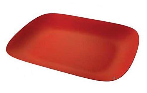 Alessi Moiré Vassoio Rettangolare, Acciaio Colorato con Resina Epossidica, Rosso, 5 x 46 x 35