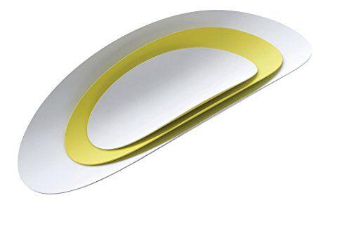 Alessi ABI07SET1 Ellipse, Set Composto da Tre Contenitori in Acciaio Colorato con Resina Epossidica, Bianco/Giallo, 8.5 x 41.5 x 8.7 cm, 3 unit
