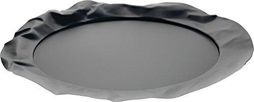 Alessi 90039 B Foix Vassoio Rotondo in Acciaio Colorato con Resina Epossidica, Super Black