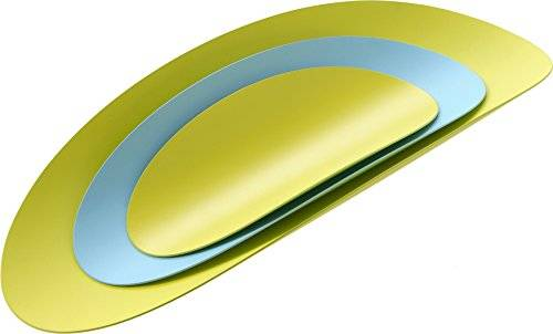 Alessi ABI07SET3 Ellipse, Set Composto da Tre Contenitori in Acciaio Colorato con Resina Epossidica, Giallo/Azzurro, 3 unit