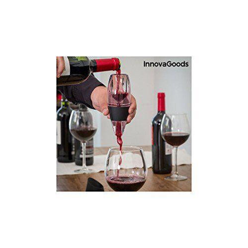 innovagoods - decanter per vino, silicone, 5,5 x 16 x 7 cm, colore: nero