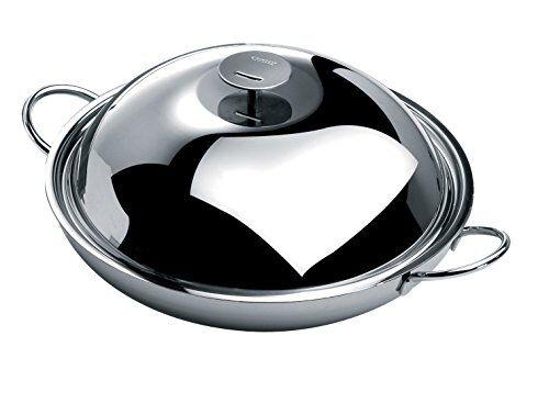 cristel wok acciaio inox, acciaio inox, 38 cm