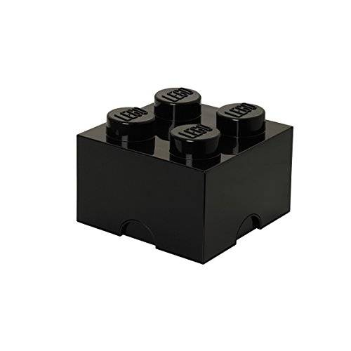 lego storage brick 4, plastica, black, medium