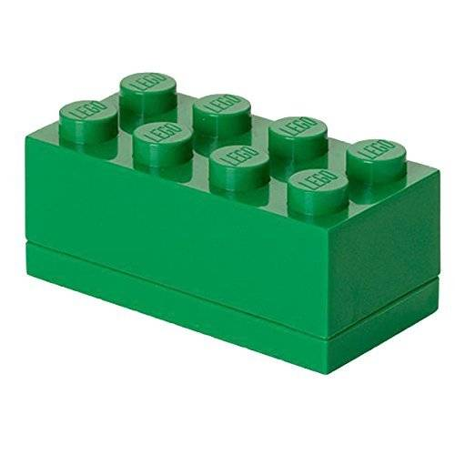 lego brick lunch box 8, verde, 9.2 x 4.6 x 4.3 cm