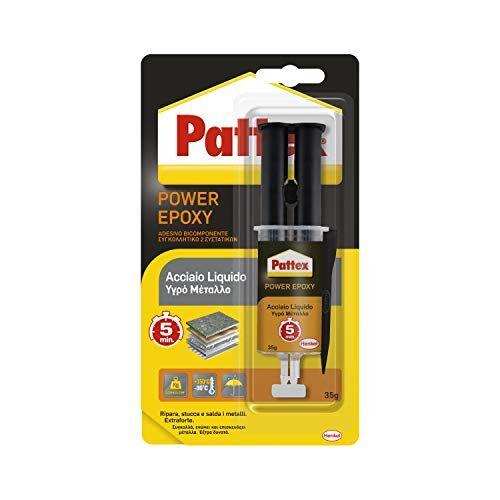Pattex Power Epoxy Acciaio Liquido, Colla Epossidica, Bicomponente Color Metallo a Base di Resina Epossidica, Forte Adesivo per Metalli e Altri Materiali, 1 x 35 g