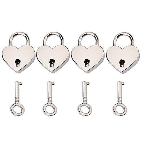 schneespitze 4 pcs lucchetto d'amore,lucchetto chiave set epoca mini lucchetto a forma di cuore per contenitore di monili,scatola di immagazzinaggio,diario,borsa dei bagagli,regalo