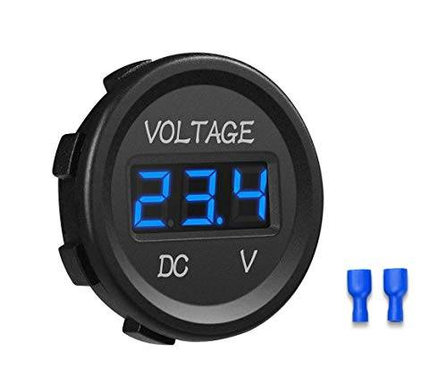 YGL Voltmetro DC 24v / 12v Auto/Moto Impermeabile Tensione Corrente Display a LED con Interruttore On/Off per Auto,Moto,RV,SUV,ATV, Marine ecc.(Blu)