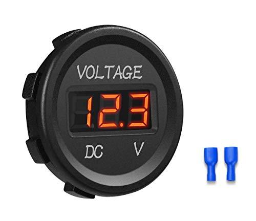 YGL Voltmetro DC 24v / 12v Auto/Moto Impermeabile Tensione Corrente Display a LED con Interruttore On/Off per Auto,Moto,RV,SUV,ATV, Marine ecc.(Rosso)
