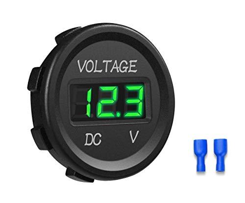 YGL Voltmetro DC 24v / 12v Auto/Moto Impermeabile Tensione Corrente Display a LED con Interruttore On/Off per Auto,Moto,RV,SUV,ATV, Marine ecc. (Verde)