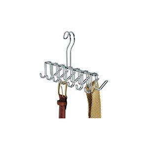 InterDesign iDesign Organizer armadio con 14 ganci, Portacravatte piccolo in metallo cromato, Porta cinture ideale per cravatte e accessori, argento