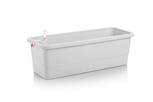 Ezooza 2 Vasi GARDENIE Smart 100x22,5x19 cm con Sistema di Auto-irrigazione Che Ti Ricorda Quando Hai innafiato lUltima Volta, Colore Bianco