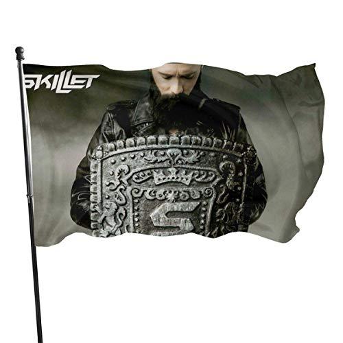 HGHGH Skillet Band Bandiera da Giardino Bandiera per Esterni Decorazioni per la casa al Coperto Banner Piede Bandiera Farm Banner 3X5 Ft