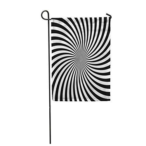 hongwei 12.5 'x 18' Bandiera da giardino Linee di turbolenza ipnotiche Rotazione a vortice Rotazione in bianco e nero di movimento circolare Rotoli di ottica per la casa Decorazione esterna per esterni Bandie