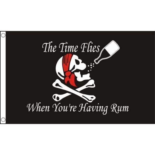 Zudrold 3 'X 5' Time vola Quando Si ha Il Rum Jolly Roger Bandiera Pirata 3x5 Piedi Fade Resistant Premium