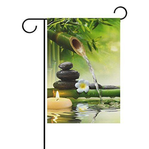REFFW Giardino Bandiera Giardinaggio Casa a Doppia Faccia per Prato Esterno Decor Banner Pietre di bamb Acqua Naturale Grande