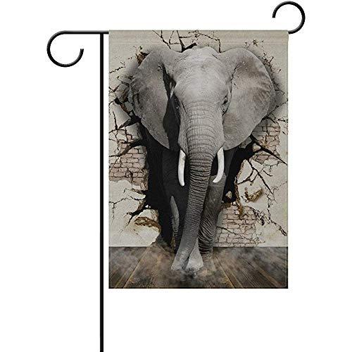 Not Applicable Vero Elefante Che esce dal Muro Bandiera Giardino a Doppia Faccia Migliore per Cortile di casa e Decorazioni per la casa all'aperto - 12,5x18 Pollici